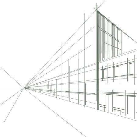 Illustration pour Linear street sketch - image libre de droit