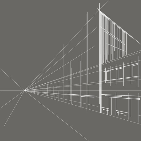 Illustration pour linear architectural sketch perspective of street on gray background - image libre de droit