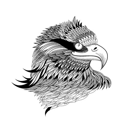 Illustration pour beautiful a graphical eagle's head isolated on a white background - image libre de droit