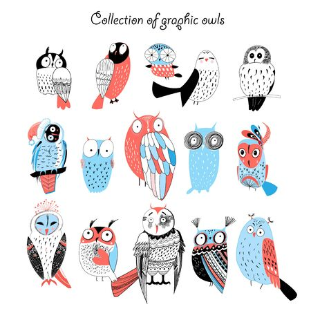 Illustration pour pretty funny collection of graphic owls on a white background - image libre de droit