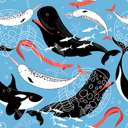 Ilustración de Graphic pattern sea whales and fish on a blue background - Imagen libre de derechos