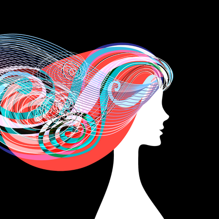 Ilustración de Woman silhouette with curly hair on banners for hairdressing salon. - Imagen libre de derechos