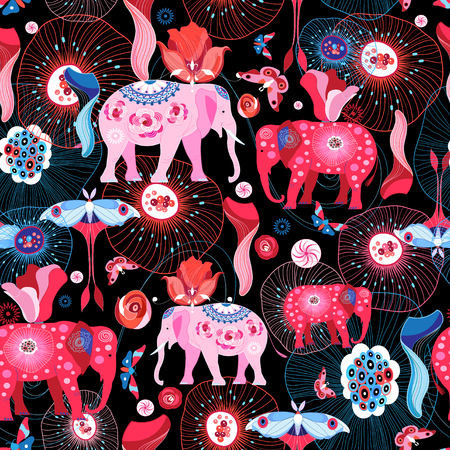 Seamless efthasis pattern with pink elephants and butterflies