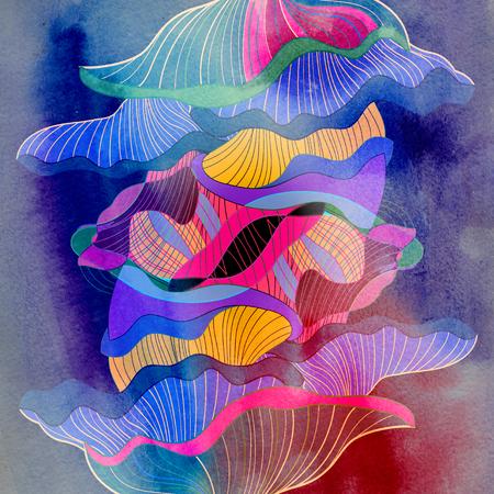 Photo pour Abstract colorful watercolor background with different geometric elements - image libre de droit