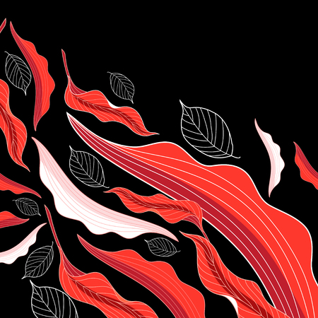 Illustration for A Vector background red flight autumn leaves on a dark background - Royalty Free Image