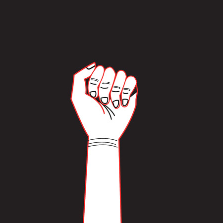 Illustration pour Graphics hand with a contour I can do everything against a dark background - image libre de droit