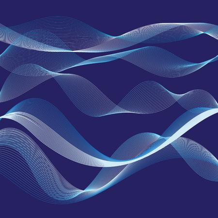 Ilustración de Vector graphic abstract waves on a blue background - Imagen libre de derechos