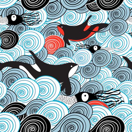 Ilustración de Drawing of a beautiful sea wave pattern with whales and squid - Imagen libre de derechos