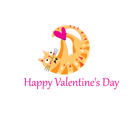 Illustration for Funny orange in love cat on white background - Royalty Free Image