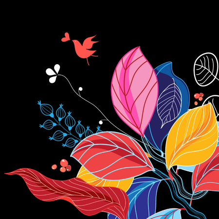 Illustration for Autumn background with multi-colored leaves and a bird - Royalty Free Image
