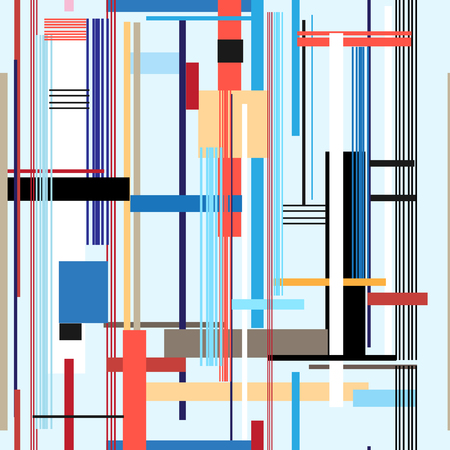 Illustration pour Geometric multicolored pattern from different stripes and rectangles - image libre de droit