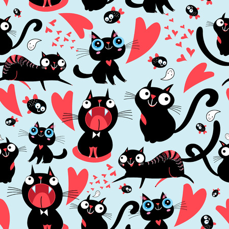 Ilustración de Cool seamless pattern of funny loving cats on a light background. - Imagen libre de derechos