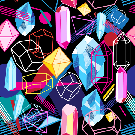 Illustration pour Beautiful seamless pattern with colorful crystals on a dark abstract background - image libre de droit