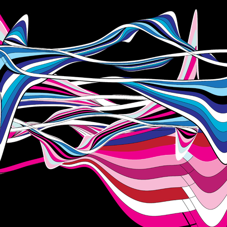 Illustration for Abstract multicolored background with different stripes ornament - Royalty Free Image