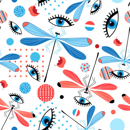 Illustration pour Bright seamless dragonfly pattern and eyes on a light background. - image libre de droit