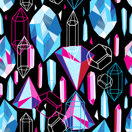 Ilustración de Beautiful seamless pattern with colorful crystals - Imagen libre de derechos