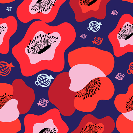 Ilustración de Vector seamless bright pattern of red poppies on blue - Imagen libre de derechos