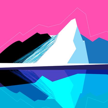 Ilustración de Vector mountain landscape on a pink background - Imagen libre de derechos