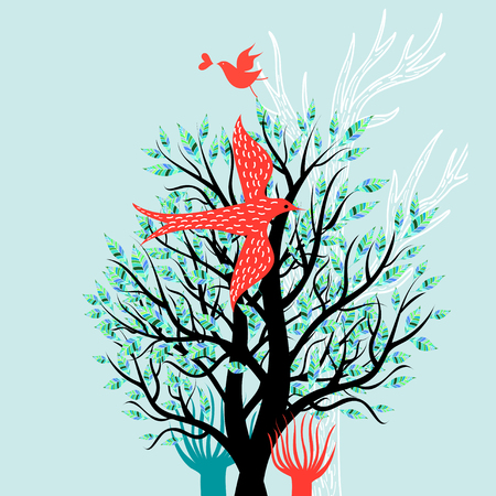 Ilustración de Illustration of a spring tree and enamored birds on a light background - Imagen libre de derechos