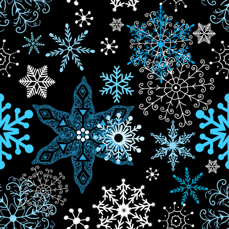 Ilustración de Seamless winter pattern of different snowflakes on dark background - Imagen libre de derechos