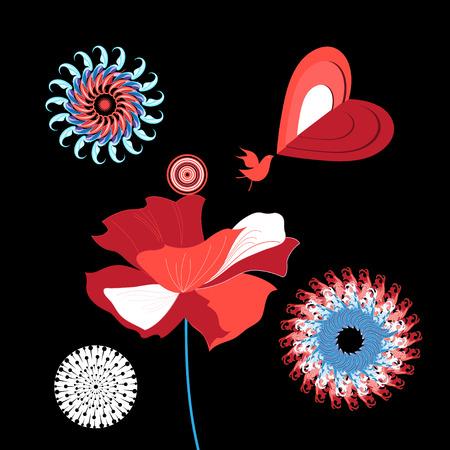 Ilustración de Vector illustration with a bird in love - Imagen libre de derechos