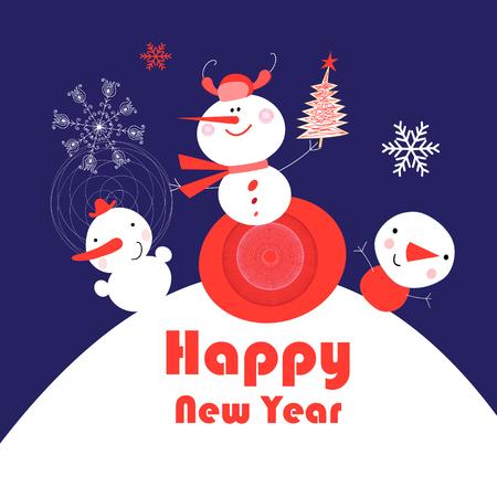 Ilustración de Bright New Year card with snowmen on a blue background with stars - Imagen libre de derechos