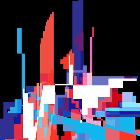 Ilustración de Abstract multicolored background with different geometric elements and buildings - Imagen libre de derechos