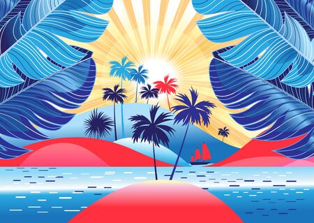 Illustration for Tropical landscape with palm trees and bright sunshine on the beach. Design template for tourism advertising or book cover. - Royalty Free Image