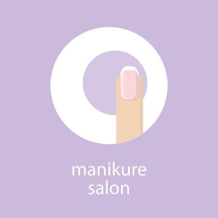 Manicure salon. Banner, emblem or logo of your nail salon. Image fingers with French manicure in a circle on purple background. Vector illustration.