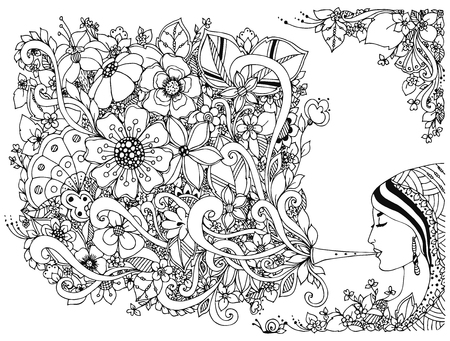 Illustration pour Vector illustration woman, girl and flute with flowers. Coloring Anti stress. Black and white. Adult coloring books. Musical instrument, music, spring. - image libre de droit