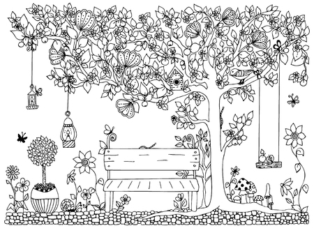 Illustration for Vector illustration park, garden,  spring: bench, a tree with apples, flowers. Anti-stress for adults. Black and white.  Adult coloring books. - Royalty Free Image