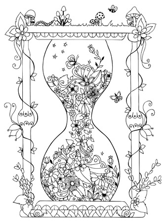 Illustration for Vector illustration hourglass with flowers. Time, flowering, spring, doodle. Coloring Books for adult anti-stress.  Adult coloring books. - Royalty Free Image