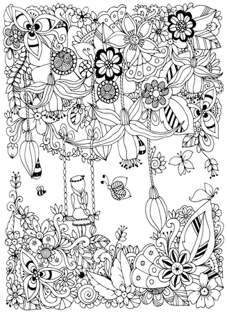 Illustrazione per Vector illustration Zen Tangle girl on a swing in the flowers. Doodle garden, forest, Thumbelina. Coloring book anti stress for adults. Coloring page. Black and white. - Immagini Royalty Free