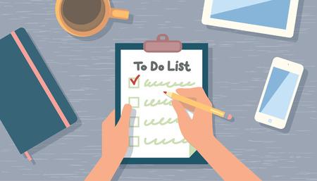 Illustration pour Checking on To Do List. Top View.  - image libre de droit