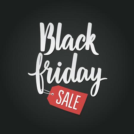 Illustration pour Black Friday Calligraphic Advertising Poster design vector template. Total Sale Discount Banner retro vintage style. - image libre de droit
