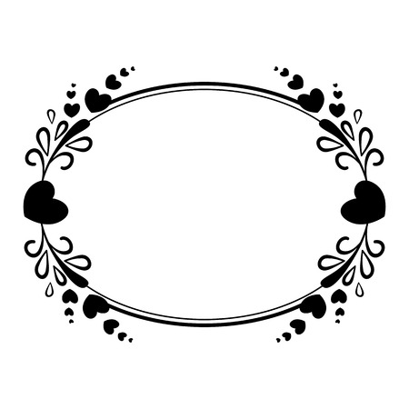 Illustration pour Elegant black and white oval frame with a silhouette of hearts and decorative elements for the design of brochures, booklets, wedding albums, invitations and other festive products. - image libre de droit