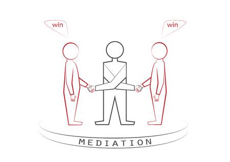 Ilustración de Mediator and two persons handshaking isolated on the white background. Winner - winner principle, front view, vector illustration, horizontal. - Imagen libre de derechos