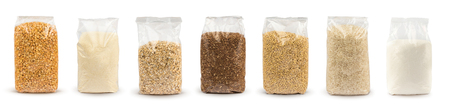 Photo for Set of Plastic transparent bags with full of groats isolated on white background. Packages with peas, semolina, rice, seeds, buckwheat grain, oat flakes, sugar. Mockup. - Royalty Free Image