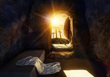 Photo for He is Risen. Empty Tomb With Shroud. Crucifixion at Sunrise. The illustration contains 3d elements. - Royalty Free Image