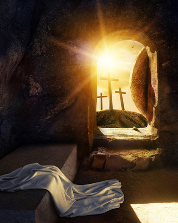 Foto de Empty Tomb With Shroud. Crucifixion at Sunrise. Illustration. - Imagen libre de derechos