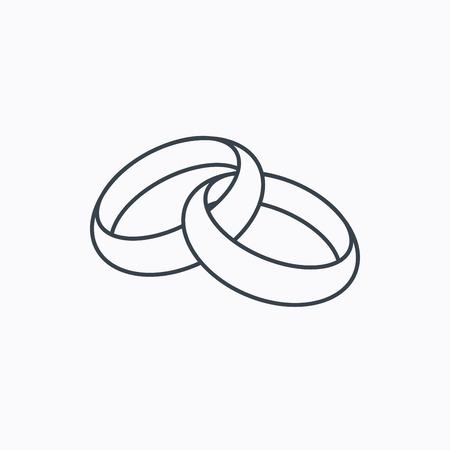 Ilustración de Wedding rings icon. Bride and groom jewelery sign. Linear outline icon on white background. Vector - Imagen libre de derechos