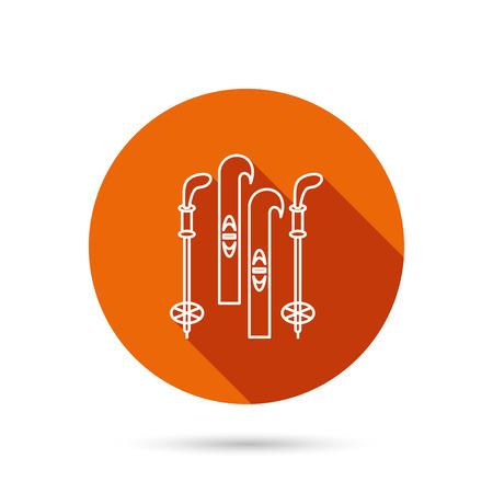 Skiing icon. Ski and sticks sign. Round orange web button with shadow.