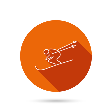 Skiing icon. Skis jumping extreme sport sign. Speed competition symbol. Round orange web button with shadow.