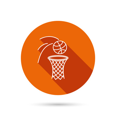 Basketball icon. Basket with ball sign. Professional sport equipment symbol. Round orange web button with shadow.