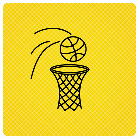Basketball icon. Basket with ball sign. Professional sport equipment symbol. Linear icon on orange background. Vector