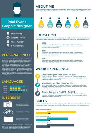 Ilustración de Flat resume infographic design. Resume, cv set with Infographics and Timeline. Clean vector - Imagen libre de derechos