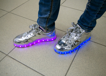 Foto de RGB LED backlight integrated into the sole of the sneaker - Imagen libre de derechos