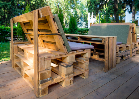 Photo for Benches and table made of euro pallets - Royalty Free Image