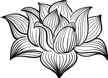 Illustration pour Vector Black and White Lotus flower drawn in sketch style. Line art - image libre de droit