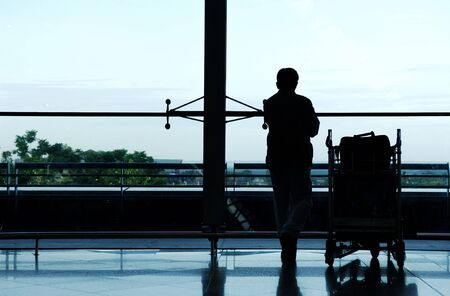 Airport, passenger waiting his flight